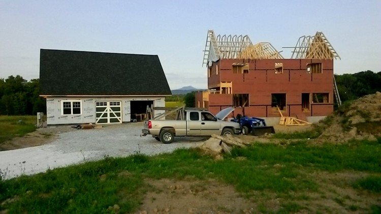The latest front view. Camel's Hump is framed between the buildings.
