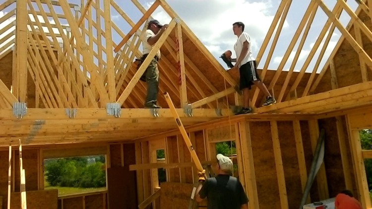 We aligned and leveled every roof truss, just like the walls.