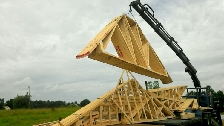 Roof truss delivery!