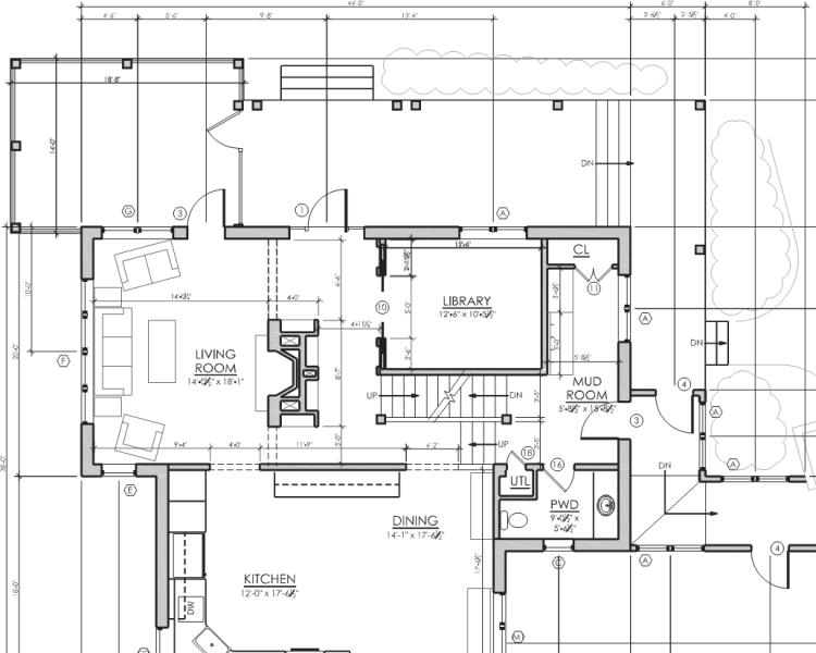 First floor plan - note location of the hearth.