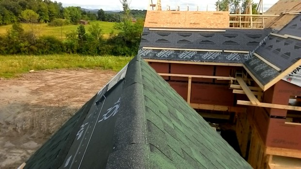 View of the main roof from atop the Barn roof, nearing completion.