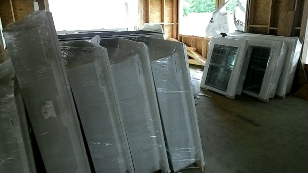 The future living room, all filled with wrapped-up windows last week.