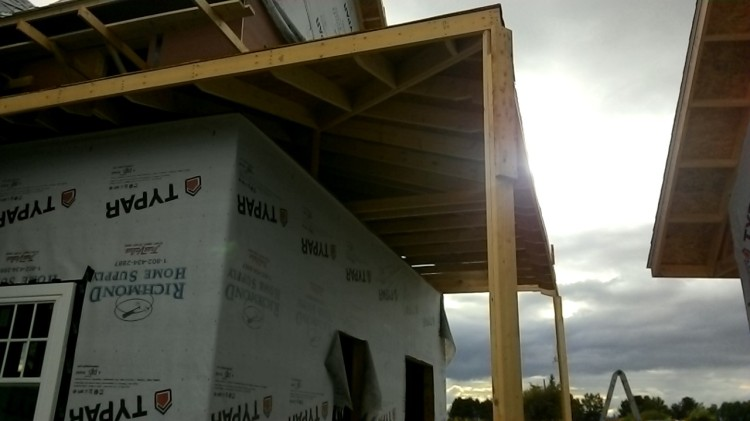 A look at the shed roof underside. Complex rafter configuration below the hip.