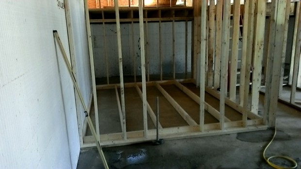 Plumbing floor all framed beneath the downstairs bathroom.
