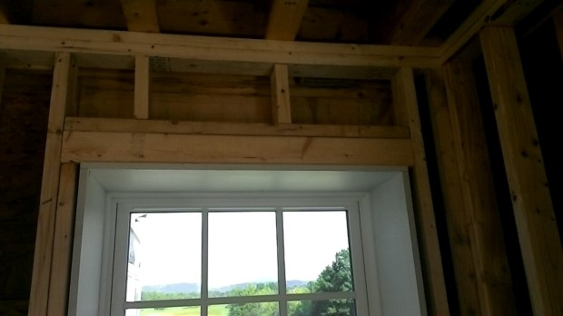 Close up of window rough opening, built into the insulating wall to frame the window tightly.