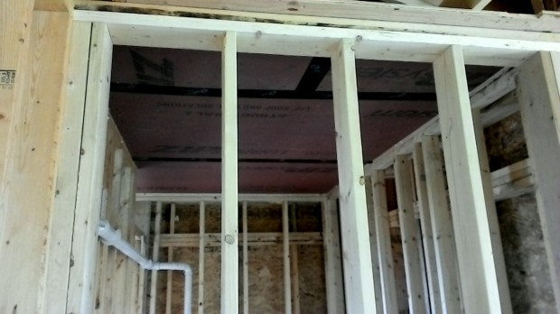 The mudroom's true ceiling, sealed with Zip-Tape.