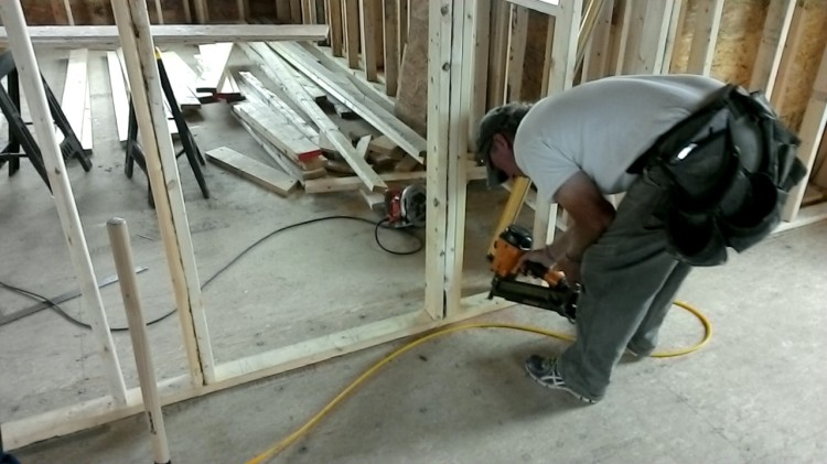 At work with the nail gun.