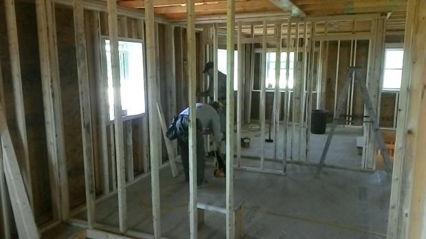 Lots of interior walls built and more in progress on the second floor.
