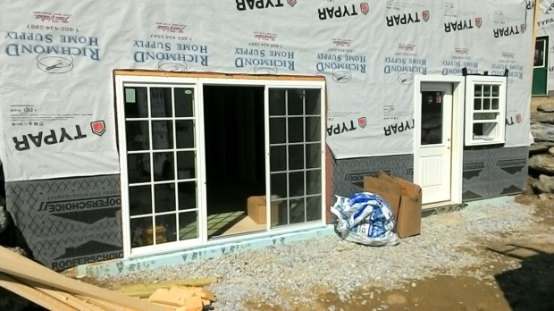 The sliding door in place.