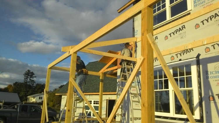 Here's the first roof truss over the front porch. Stay tuned for many more.