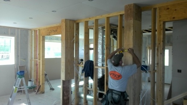Two very unusual walls to flank custom cabinets. It'll make sense when you see the finished kitchen!