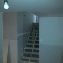 "A ""Winooski chandelier"" illuminates the basement."