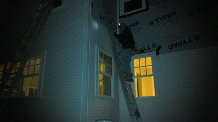 Siding by LED. (Colin called it a day moments after I took the picture.)