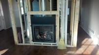 The propane fireplace.