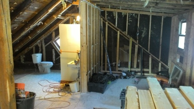 In the attic, only one interior wall remains.