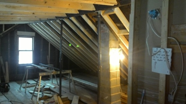 We shored the ridge beam the same way as the ceiling joists.