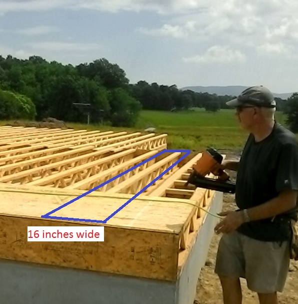 Tributary area of a typical floor joist.