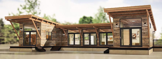 A Hitch Haus that combines three modules in a U configuration.