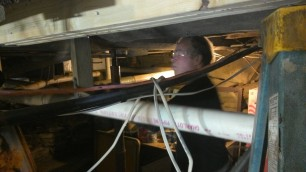 Mark works in claustrophobic conditions downstairs.