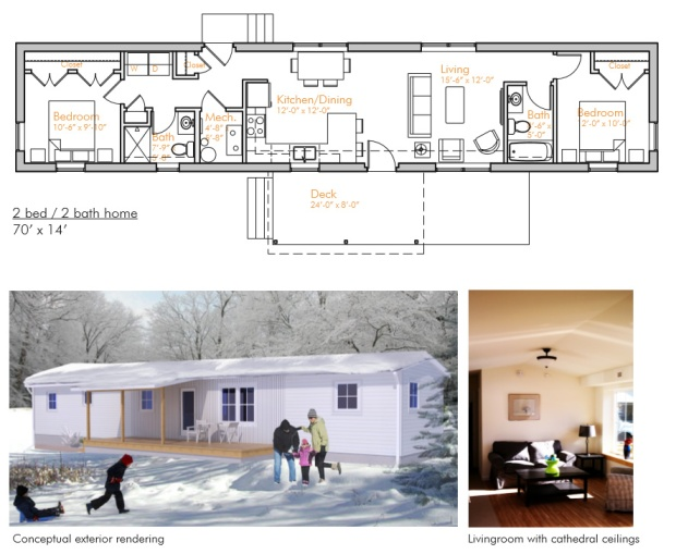 Sample floor plan and rendering of one VerMod model.