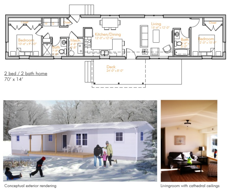 Sample floor plan and rendering of one VerMod model.