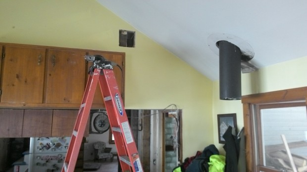 Rough-cut vent hole from the dining room side.