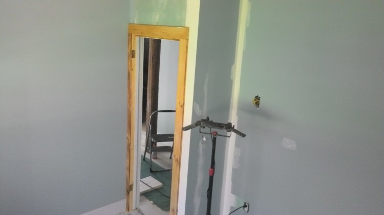 Guest bedroom doorway, all cased and ready for action.