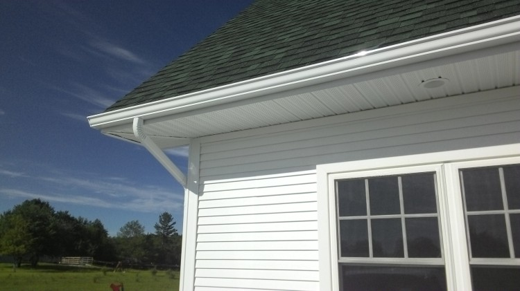 One seamless gutter. They surround the house and the Barn now.