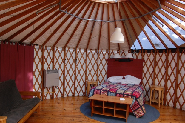 Inside a modern yurt, with a permanent floor and heating system. (Flickr - creative commons)