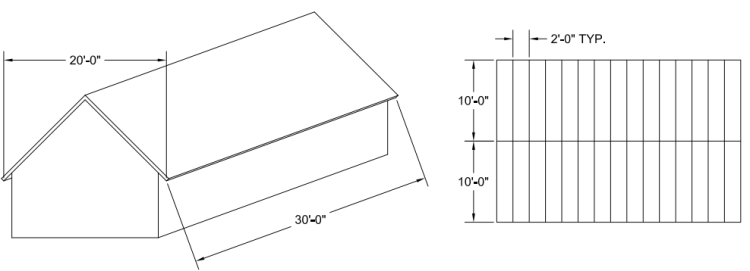 Schematic of the roof and the rafter layout.