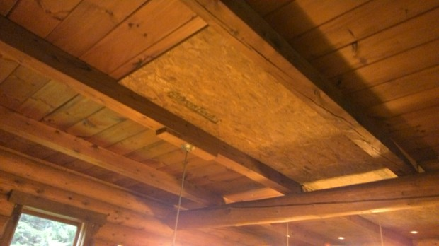 Beautiful, rustic ceiling bays... one with a freshly-installed piece of Advantech.