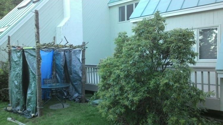 The finished sukkah and surroundings.