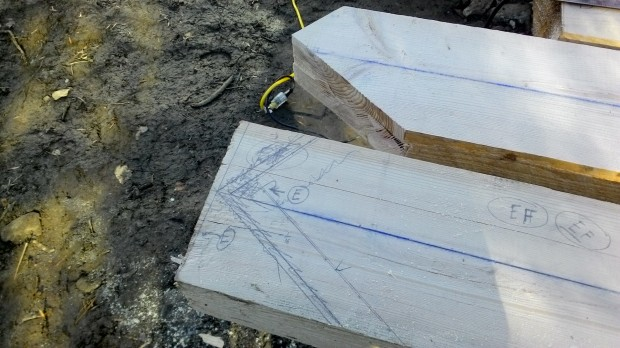 The angles for a diagonal cut, showing offsets to account for the exact width of adjacent timbers.