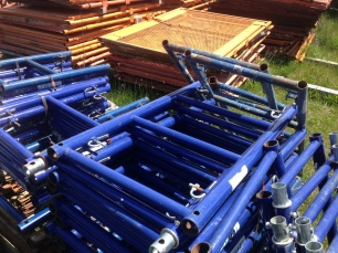 Shoring frames in a stack.