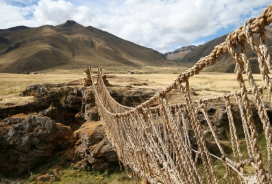 Inca rope bridge reproduction in Peru.