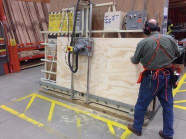 Ripping plywood at Home Depot.